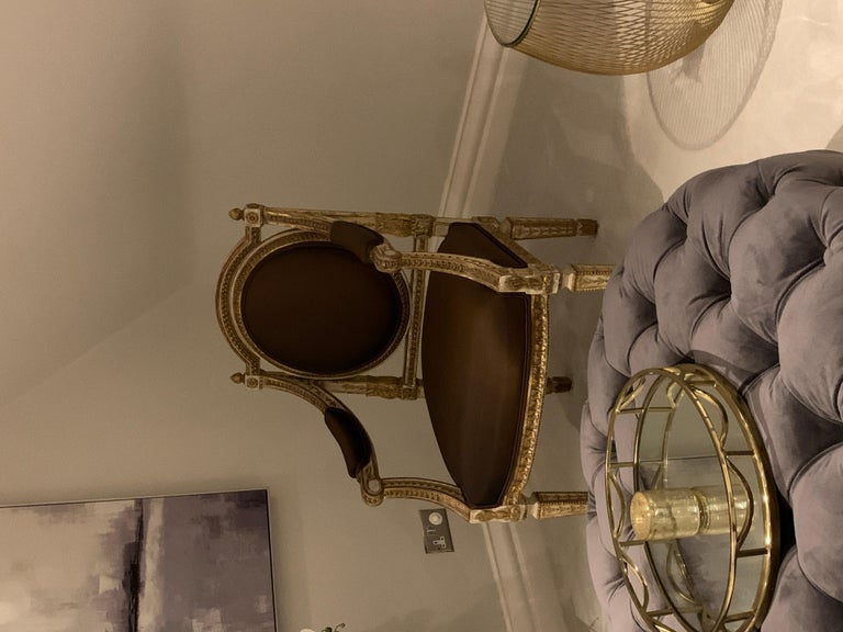 Set of Four Italian Painted and Parcel-Gilt Armchairs of Neoclassical For Sale 3