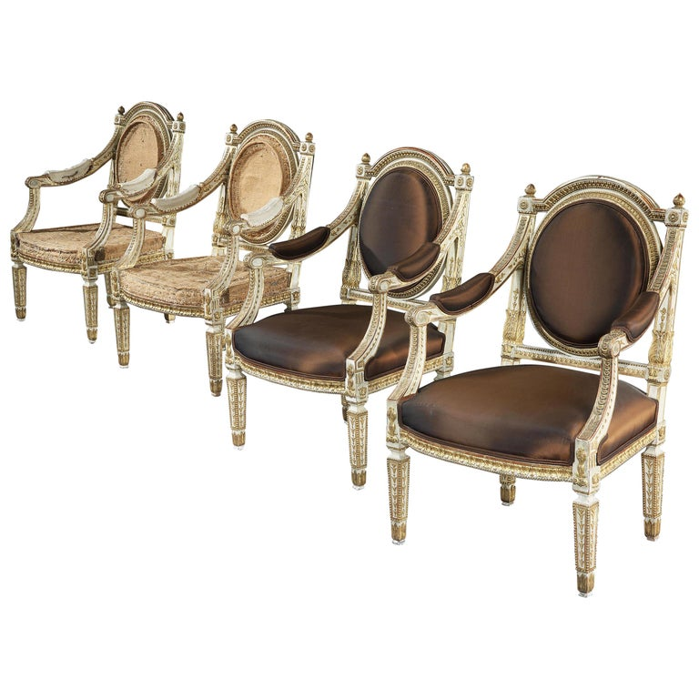 Set of Four Italian Painted and Parcel-Gilt Armchairs of Neoclassical For Sale