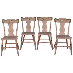 Set of Four 19th C Original Painted Pennsylvania Plank Bottom Chairs