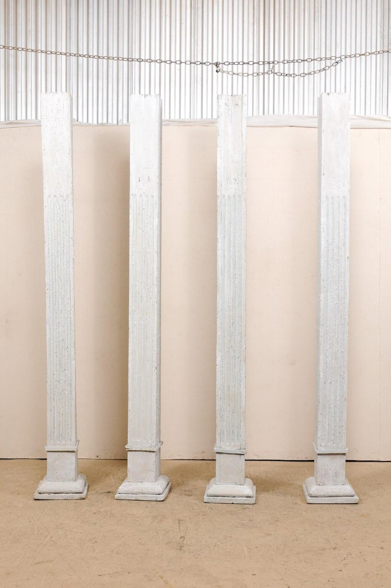 Carved Set of Four 19th Century American Painted Columns For Sale