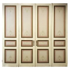 Set of Four 19th Century Art Nouveau Period Hand Painted French Doors