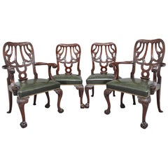 Set of four 19th Century carved mahogany chairs in the Chippendale style
