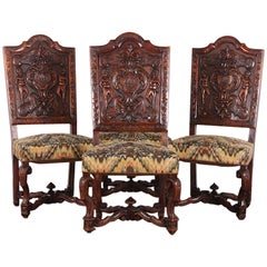 Set of Four 19th Century Carved Walnut Italian Chairs