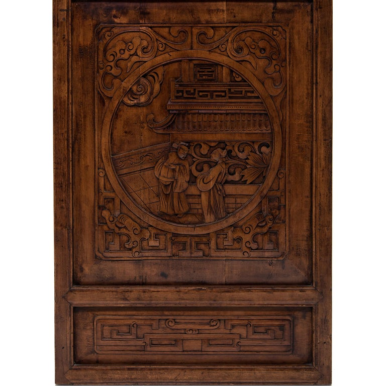 Set of Four 19th Century Chinese Lattice Scholars Panels For Sale 4
