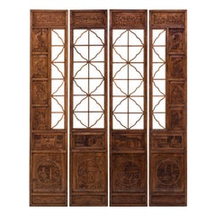 Set of Four 19th Century Chinese Lattice Scholars Panels