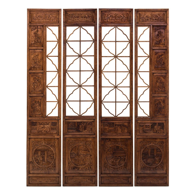 Set of Four 19th Century Chinese Lattice Scholars Panels For Sale