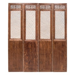 Set of Four 19th Century Chinese Quadrilobe Lattice Courtyard Panels