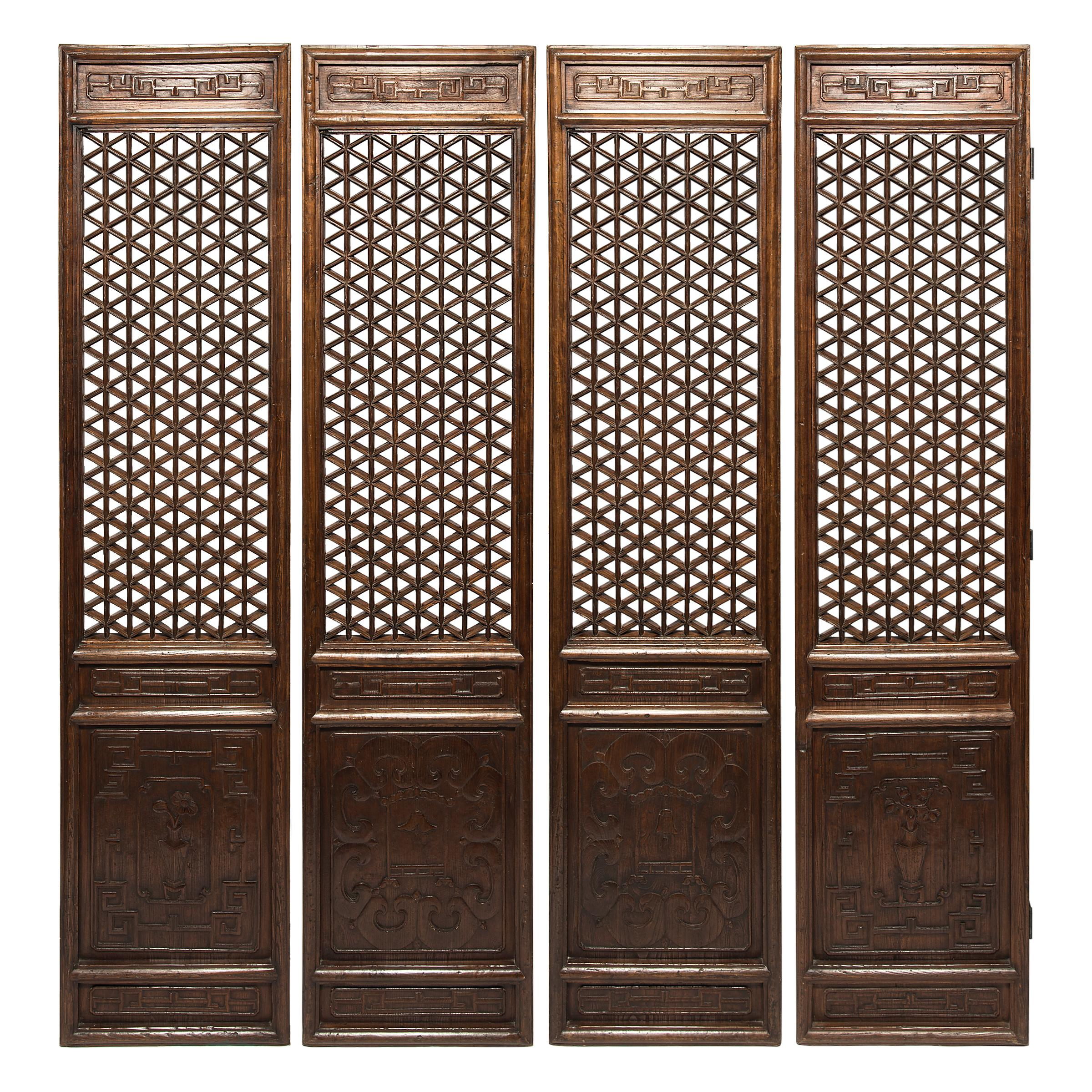 Set of Four 19th Century Chinese Treasure Lattice Panels