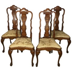 Set of Four 19th Century Dutch Marquetry Dining Chairs