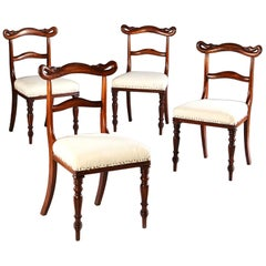 Set of Four 19th Century English Goncalo Alves Wooden Side Chairs with Swan Back