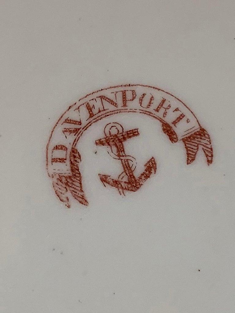 Set of four 19th century circa 1815-1830 English Staffordshire Davenport round porcelain plates with gilt details, printed Anchor Mark.