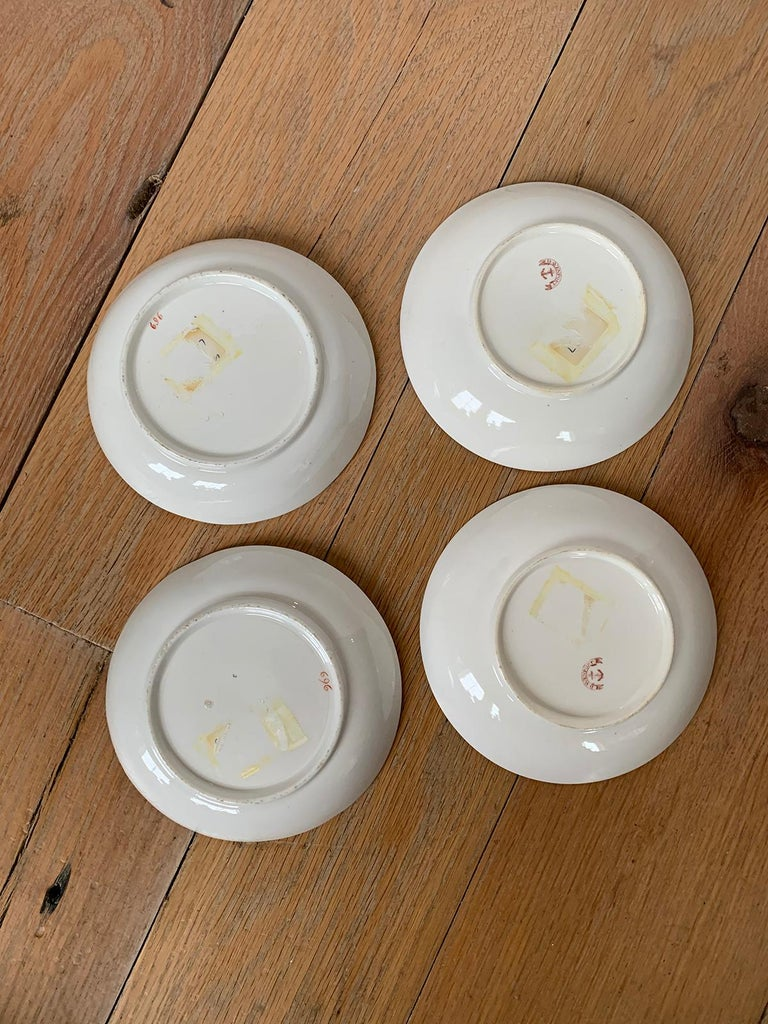 Set of Four 19th Century English Staffordshire Davenport Plates, Anchor Mark In Good Condition For Sale In Atlanta, GA