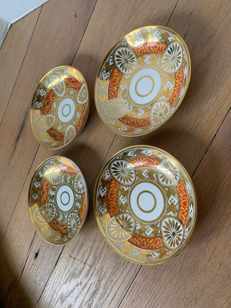 Set of Four 19th Century English Staffordshire Davenport Plates, Anchor Mark For Sale 2