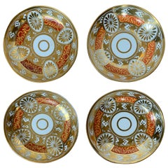 Set of Four 19th Century English Staffordshire Davenport Plates, Anchor Mark