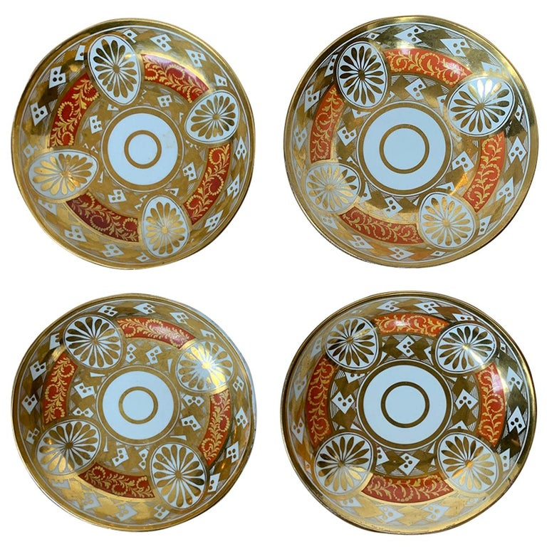 Set of Four 19th Century English Staffordshire Davenport Plates, Anchor Mark For Sale