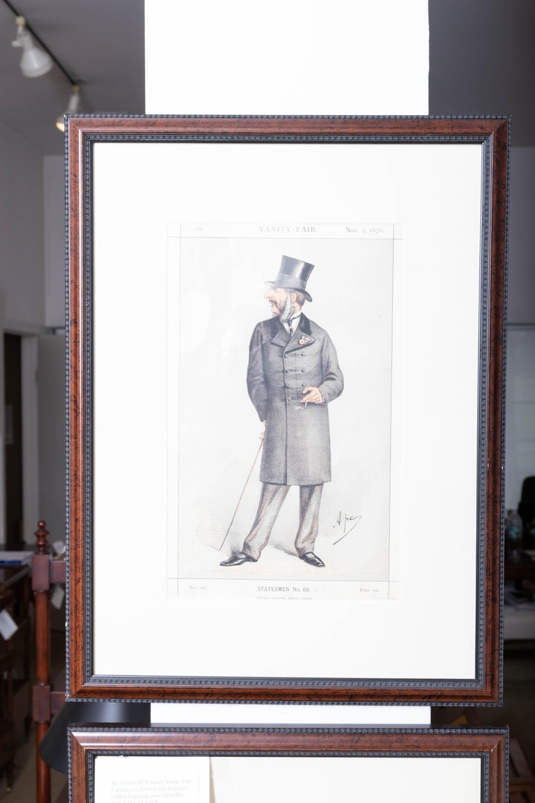 Set of four 19th century framed vanity fair caricatures. Artist Carlo Pellegrini.