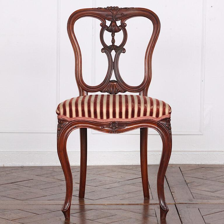 Victorian Set of Four 19th Century French Carved Mahogany Chairs For Sale