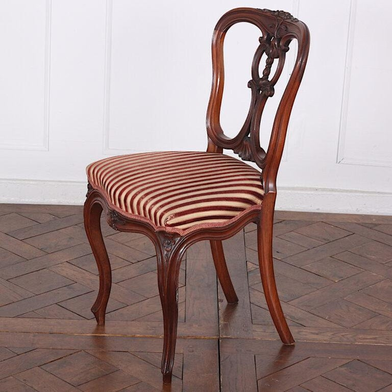 Set of Four 19th Century French Carved Mahogany Chairs For Sale 1