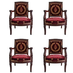 Set of Four 19th Century French Empire Mahogany Armchairs