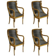 Set of Four 19th Century French Empire Swan Neck Dining Chairs