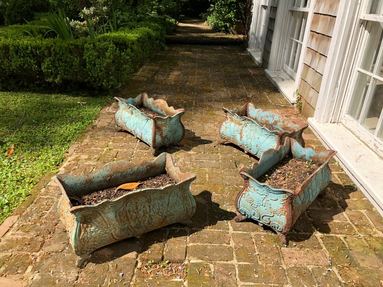 Set of Four 19th Century French Iron Planters For Sale 1