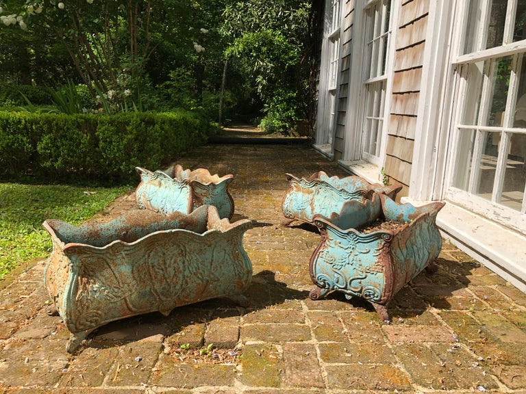 Set of Four 19th Century French Iron Planters For Sale 2