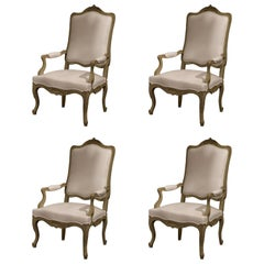Set of Four 19th Century French Louis XV Carved Painted Armchairs from Provence