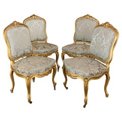 Set of Four 19th Century French Louis XV Giltwood Chairs