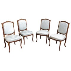 Set of Four 19th Century French Louis XVI Mahogany Chairs with Silk Damask
