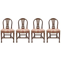 Set of Four 19th Century French Solid Mahogany Directoire St. Chairs