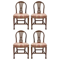 Set of Four 19th Century French Solid Mahogany Directoire Style Chairs