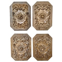 Set of Four 19th Century French Walnut Carvings