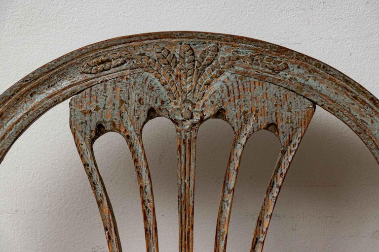 Gustavian Set of Four 19th Century Hand Painted Swedish Wheat Sheaf Dining Chairs For Sale