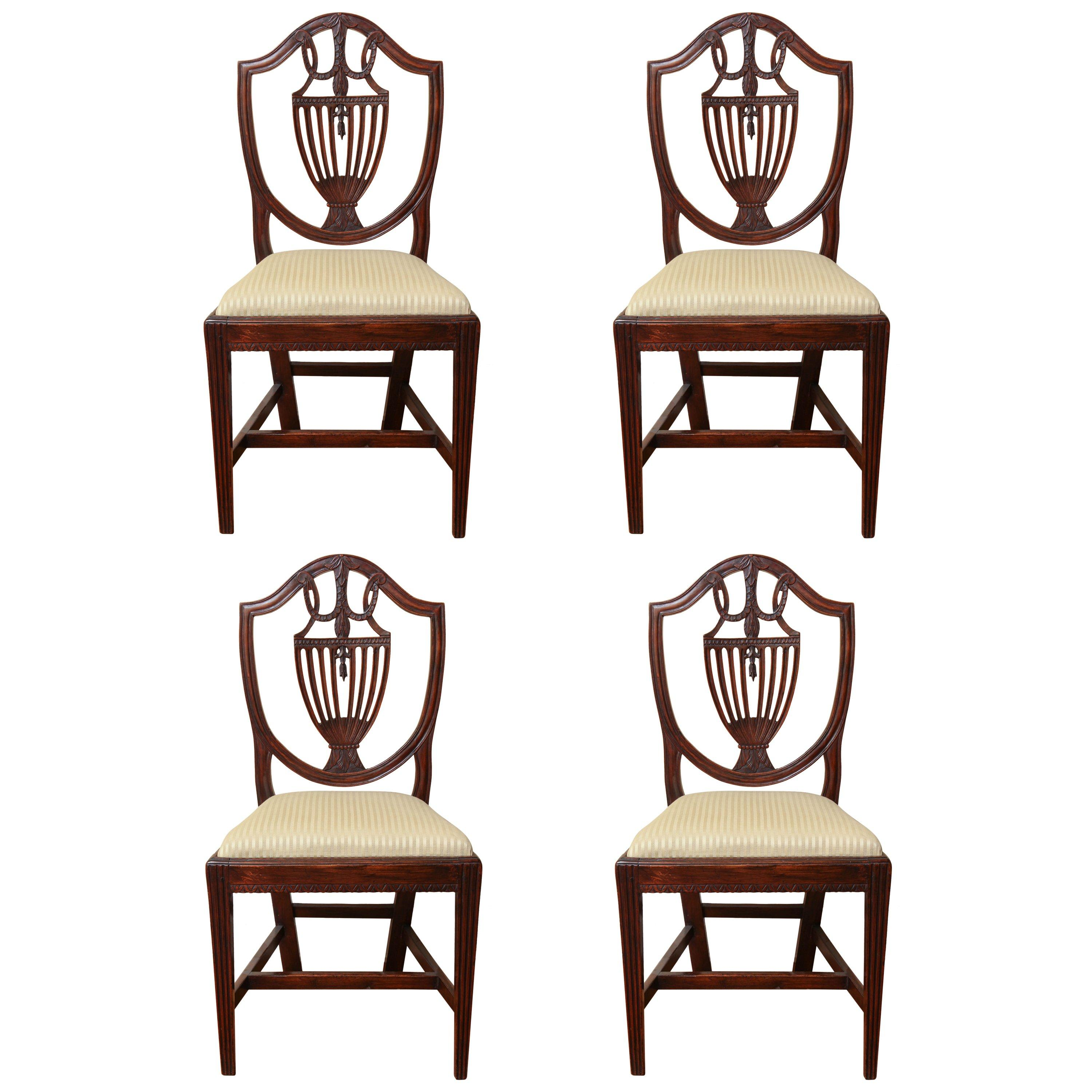 Set of Four 19th Century Italian Neoclassical Shield Back Mahogany Side Chairs