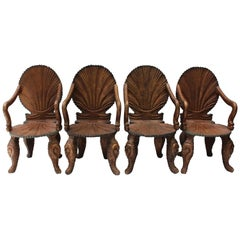 Set of Four 19th Century Italian Wood Grotto Armchairs