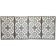 Set of Four 19th Century Japanese Lattice Wooden Panels