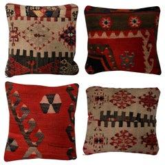 Set of Four 19th Century Kilim Cushions