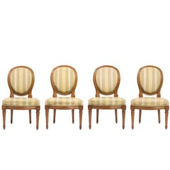 Set of Four Louis XVI Chairs with Striped Silk Upholstery, 19th Century