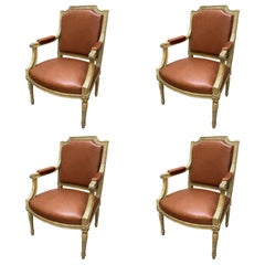 Set of Four 19th Century Louis XVI Style 'Armchairs' Fauteuils