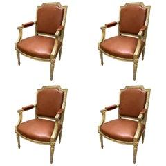 Set of Four 19th Century Louis XVI Style Wood Armchairs