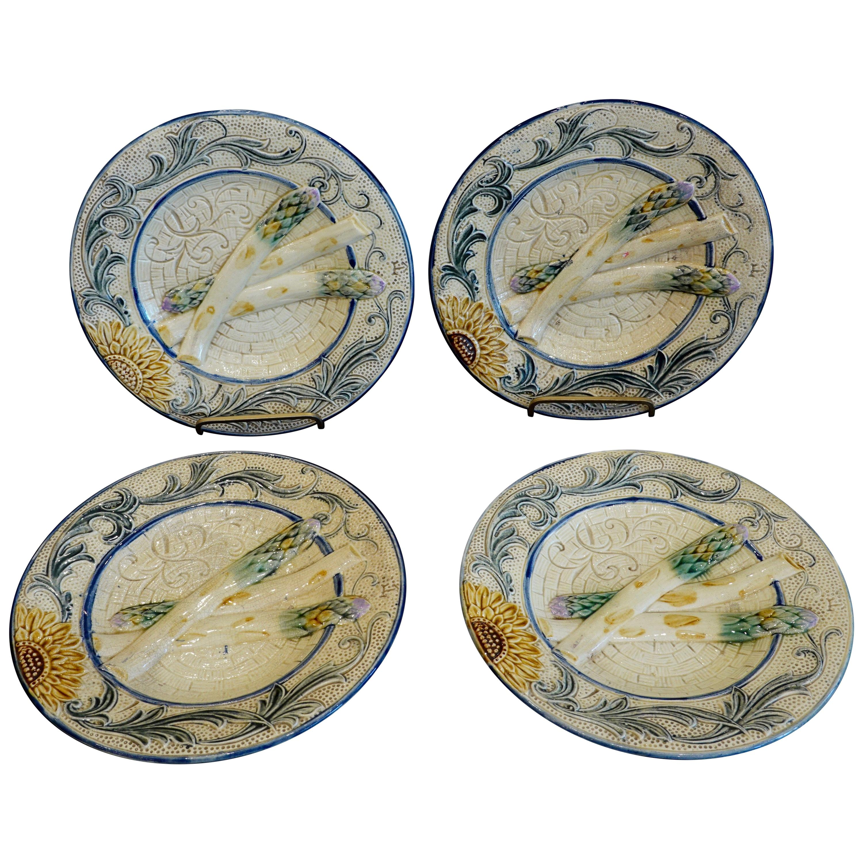 Set of Four 19th Century Majolica Asparagus Plates with Molded Sunflower