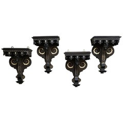 Set of Four 19th Century Napoleon III Period French Painted Wall Sconces