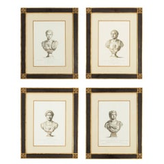 19th Century Prints of Caesar Bust in Handmade Frames in Set of Four