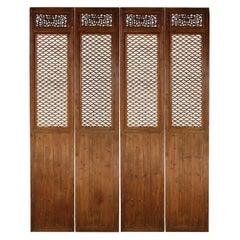 Set of Four 19th Century Quadrilobe Lattice Courtyard Panels