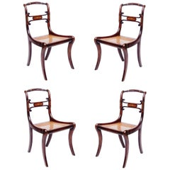 Set of Four 19th Century Regency Faux Rosewood Cane Chairs with Brass Inlay