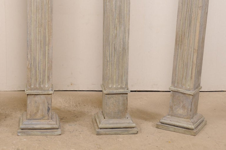 Set of Four 19th Century Square Fluted Painted Columns For Sale 4