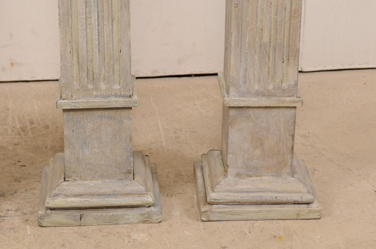 Set of Four 19th Century Square Fluted Painted Columns For Sale 5