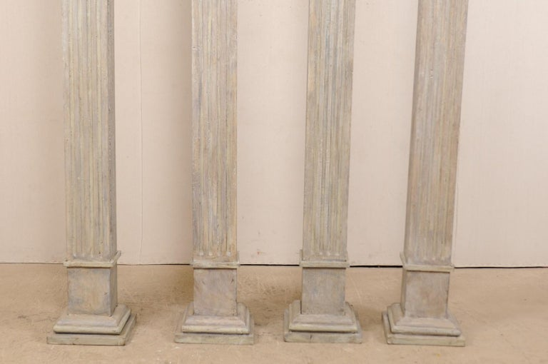Set of Four 19th Century Square Fluted Painted Columns For Sale 6