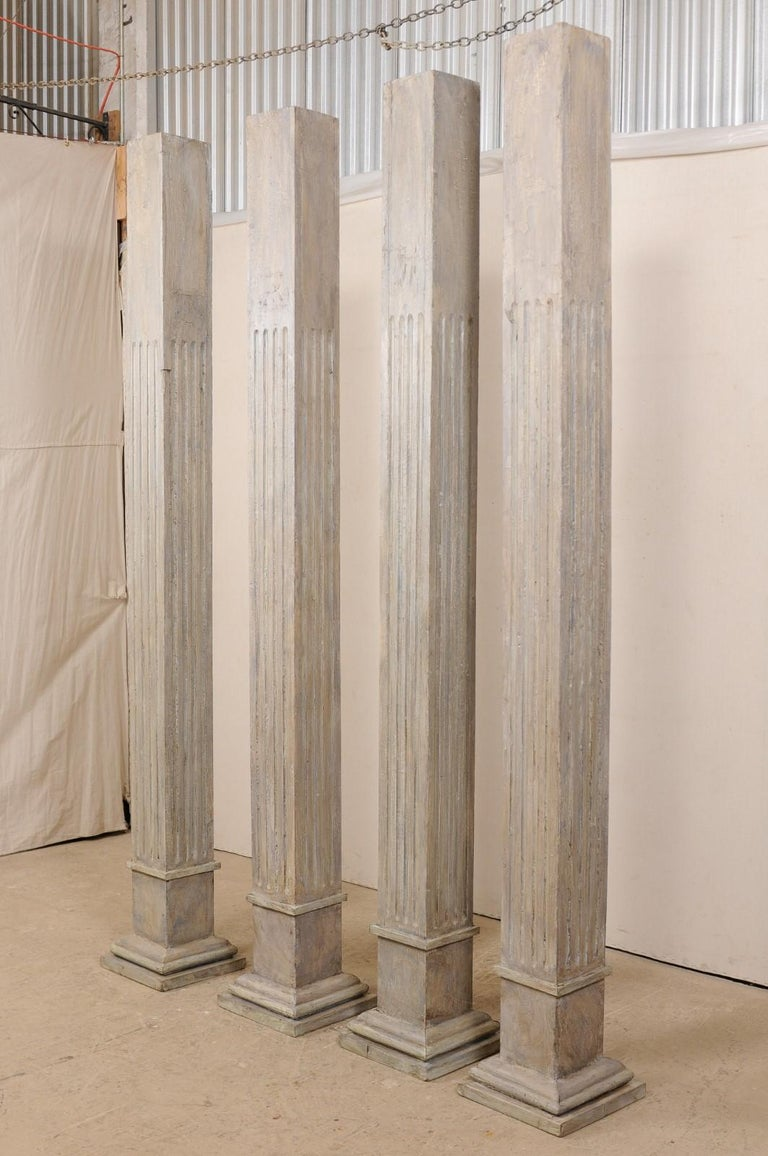 Set of Four 19th Century Square Fluted Painted Columns For Sale 7
