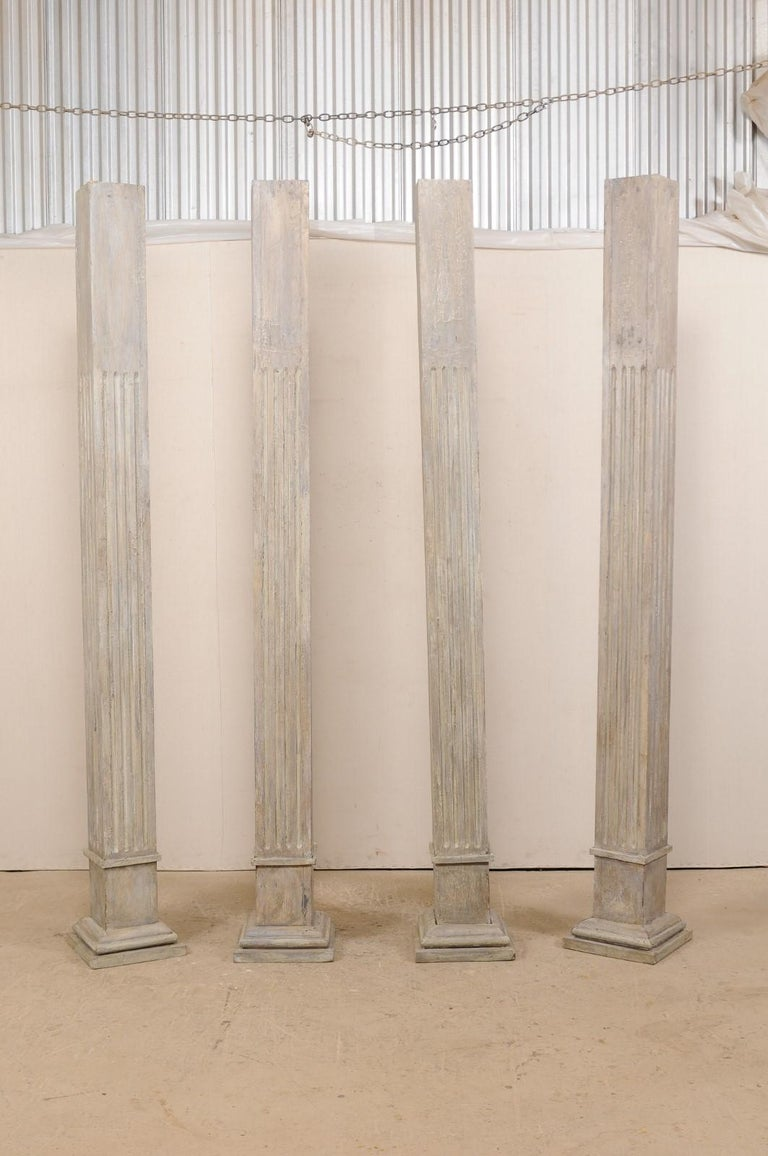 Set of Four 19th Century Square Fluted Painted Columns For Sale 8